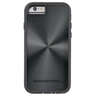 Metallic Black Tones Stainless Steel Look 2 Tough Xtreme iPhone 6 Case
