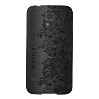 Metallic Black With Black Paisley Lace Galaxy S5 Covers