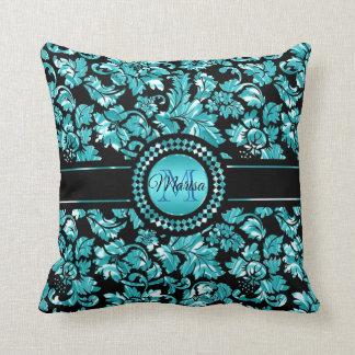 Metallic Blue And White Damask Throw Pillow