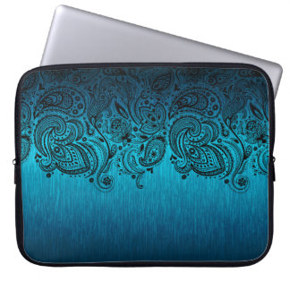 Metallic Blue Background With Black Paisley Lace Laptop Sleeve