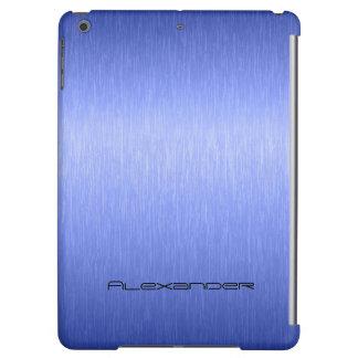 Metallic Blue Brushed Aluminum Look Monogram iPad Air Cover