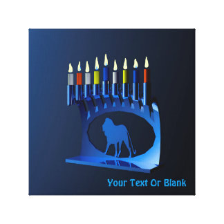 Metallic Blue Chanukkah Menorah Canvas Print