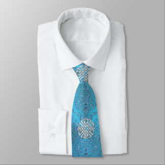 Metallic Blue Damask With Celtic Knot Tie