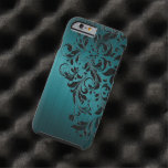 Metallic Blue-Green Brushed Aluminum & Black Lace Tough iPhone 6 Case