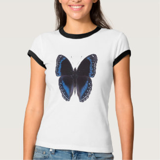 Metallic-blue-on-black butterfly, ringer t-shirt