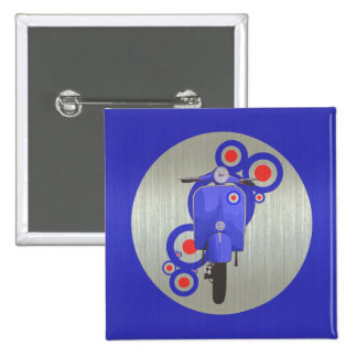 Metallic Blue retro scooter and targets 2 Inch Square Button