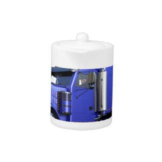 Metallic Blue Semi Tractor Trailer Truck