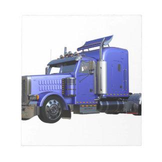 Metallic Blue Semi Tractor Trailer Truck Notepad