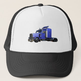 Metallic Blue Semi Tractor Trailer Truck Trucker Hat