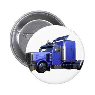Metallic Blue Semi Truck In Three Quarter View 2 Inch Round Button