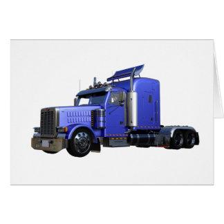 Metallic Blue Semi Truck In Three Quarter View Card