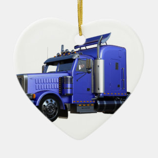 Metallic Blue Semi Truck In Three Quarter View Ceramic Heart Ornament