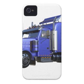 Metallic Blue Semi Truck In Three Quarter View iPhone 4 Case
