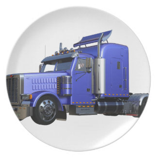 Metallic Blue Semi Truck In Three Quarter View Plate