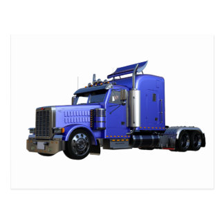 Metallic Blue Semi Truck In Three Quarter View Postcard