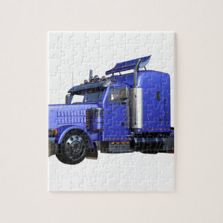 Metallic Blue Semi Truck In Three Quarter View Puzzles