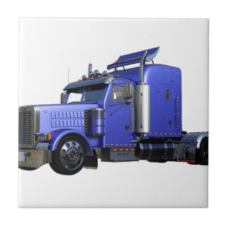 Metallic Blue Semi Truck In Three Quarter View Tile