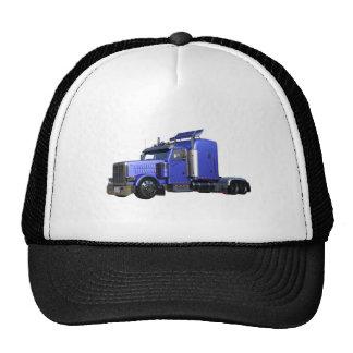 Metallic Blue Semi Truck In Three Quarter View Trucker Hat