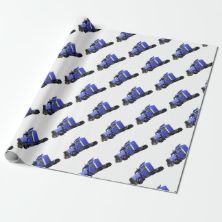 Metallic Blue Semi Truck In Three Quarter View Wrapping Paper