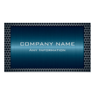 Metallic Blue Stainless Gray Steel Hole Look Pack Of Standard Business Cards