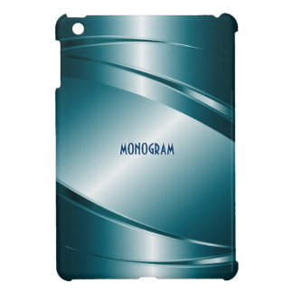Metallic Blue Stainless Steel Look-Monogram Case For The iPad Mini