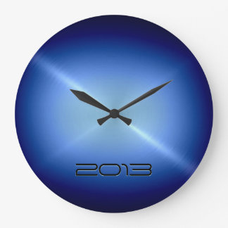 Metallic Blue Stainless Steel Metal Wall Clocks