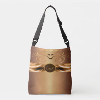 Metallic Bronze Ornate Swirls Monogram Crossbody Bag