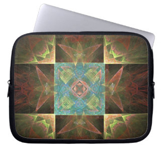 Metallic Brown Blue And Gold Abstract Laptop Sleeve