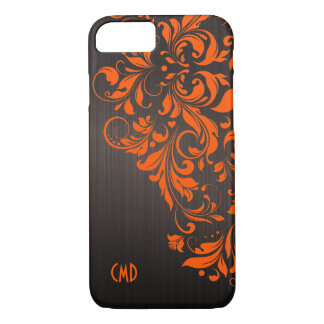 Metallic Brown Brushed Aluminum & Orange Lace iPhone 8/7 Case