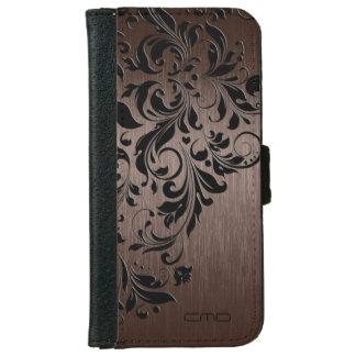 Metallic Brown Brushed  Steel Look & Black Lace iPhone 6 Wallet Case