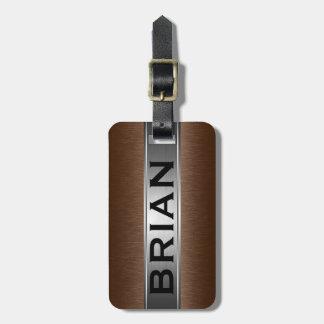 Metallic Brown& Silver Brushed Aluminum Look Luggage Tag