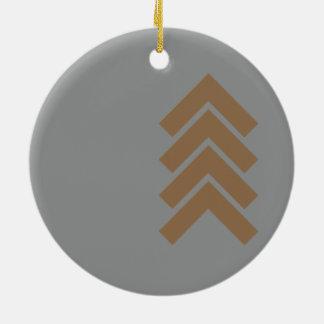 Metallic Chevron Round Ceramic Ornament