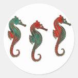 Metallic Christmas Seahorse Trio Round Sticker