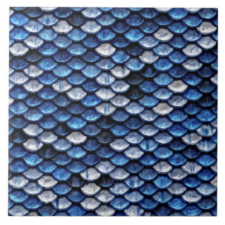 Metallic Cobalt Blue Fish Scales Pattern Ceramic Tiles
