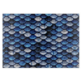 Metallic Cobalt Blue Fish Scales Pattern Cutting Board