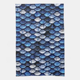 Metallic Cobalt Blue Fish Scales Pattern Kitchen Towel