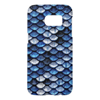 Metallic Cobalt Blue Fish Scales Pattern Samsung Galaxy S7 Case