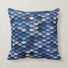 Metallic Cobalt Blue Fish Scales Pattern Throw Pillow
