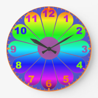 Metallic Colorful Flower Power Clock with Numbers