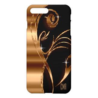 Metallic Copper Abstract and Black | Monogram iPhone 8 Plus/7 Plus Case
