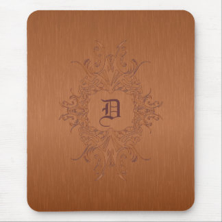 Metallic Copper Brown Brushed Aluminum Look Mouse Pad