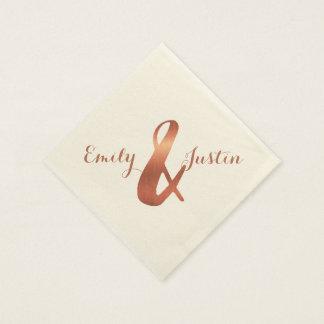 Metallic copper-look ampersand wedding design disposable napkin