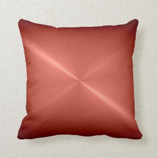 Metallic Copper Stainless Steel Metal Look Throw Pillow