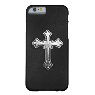 Metallic Crucifix on Black Leather Barely There iPhone 6 Case