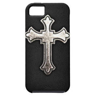 Metallic Crucifix on black leather Case For The iPhone 5