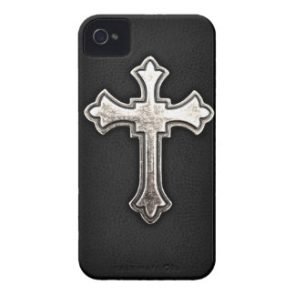 Metallic Crucifix on black leather Case-Mate iPhone 4 Cases