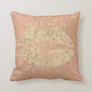Metallic Crystals Rose Gold Makeup Foxier Copper Throw Pillow