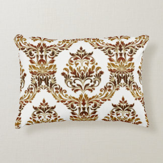 Metallic Damask in Bronze and Gold Accent Pillow