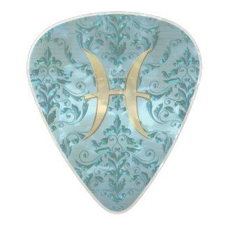 Metallic Damask Zodiac Sign Pisces Pearl Celluloid Guitar Pick