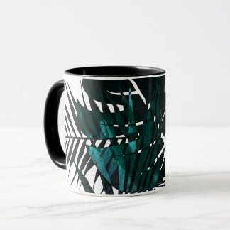 Metallic dark green tropical leaves mug